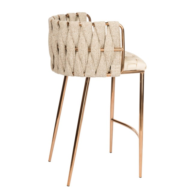 Contemporary Modern Milano Off White and Gold Counter Chair For Sale - Image 3 of 4