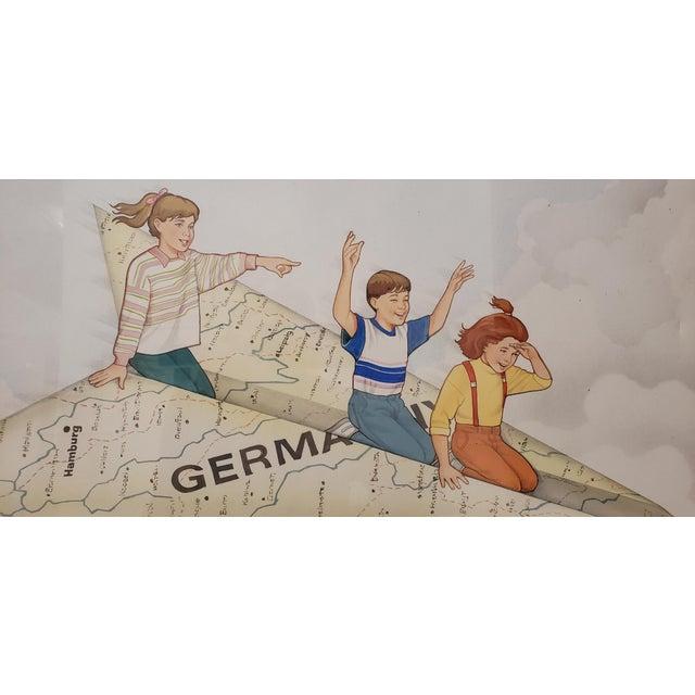 Map Of Germany For Sale.Vintage German Travel Kids On Paper Airplane Germany Map Original Illustration