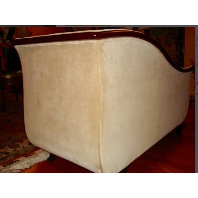 Empire French Empire Velvet Upholstered Mahogany Chaise Lounge / Daybed For Sale - Image 3 of 5