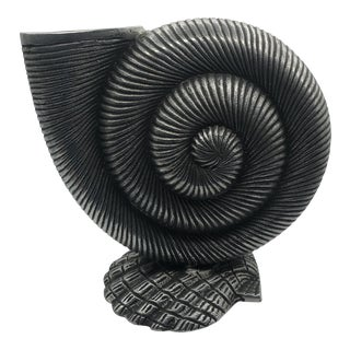 Pewter Nautilus Shell Vase With Shell Base For Sale