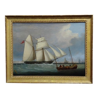 John Lynn -Royal Navy Sail Ship Approaching Portsmouth-19th Century Oil Painting -C1840 For Sale