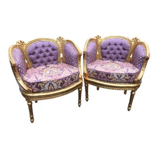 Vintage 1900's French Louis XVI Corbeille Easy Chairs - a Pair For Sale