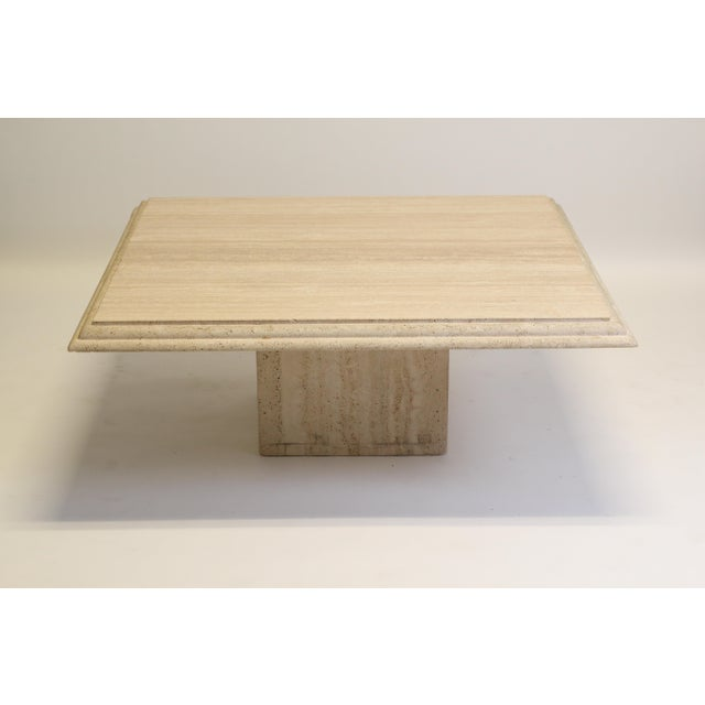 Beautiful Low and Modern Square Cream & Beige Travertine Coffee Table with Inset Square Pedestal Travertine Base Double...