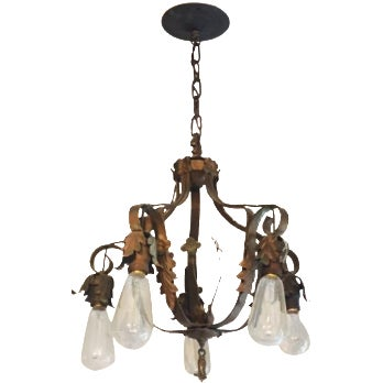 Spanish-Style Brass Chandelier For Sale
