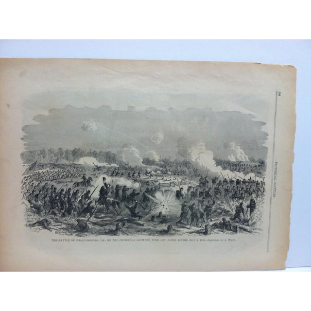 "This is an Antique Pictorial Battles of the Civil War Print that is titled ""The Battle of Williamsburg, Virginia Between..."