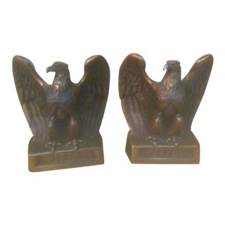 Vintage 1776 Brass Eagle Bookends - a Pair