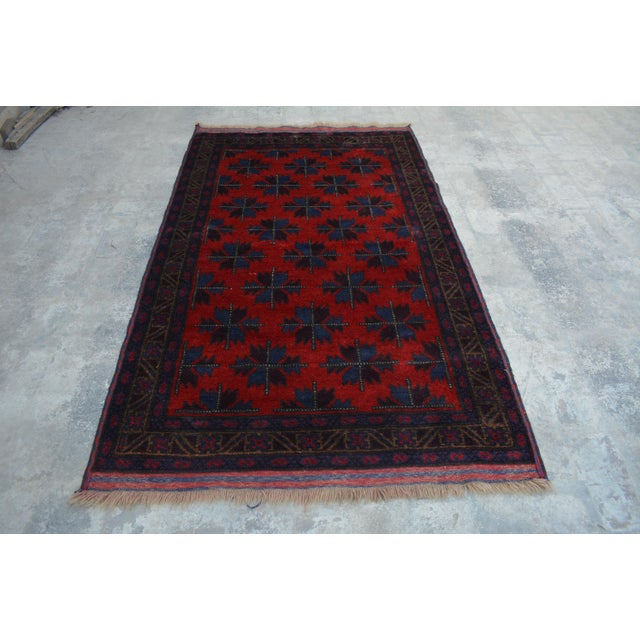 Vintage Afghan Hand Knotted Rug - 4′1″ × 6′10″ For Sale In Orlando - Image 6 of 6