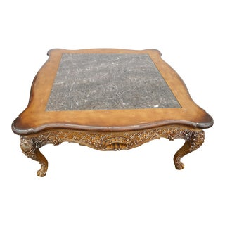 Regency Drexel Heritage Distressed Coffee Table With Marble Insert For Sale
