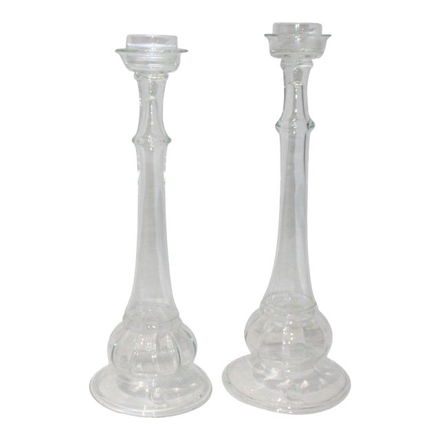 Vintage Blenko Glass Candle Holders - a Set of 2 For Sale