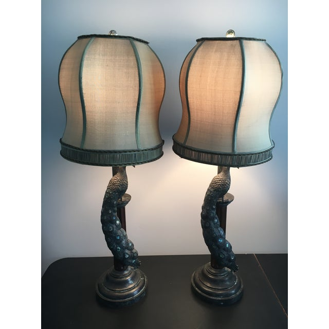 Maitland-Smith Peacock Table Lamps - a Pair - Image 3 of 7