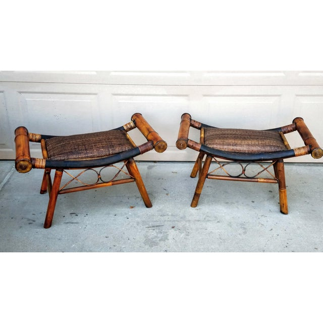 1960s Boho Chic Bamboo and Rattan Foot Stools - a Pair For Sale - Image 4 of 7