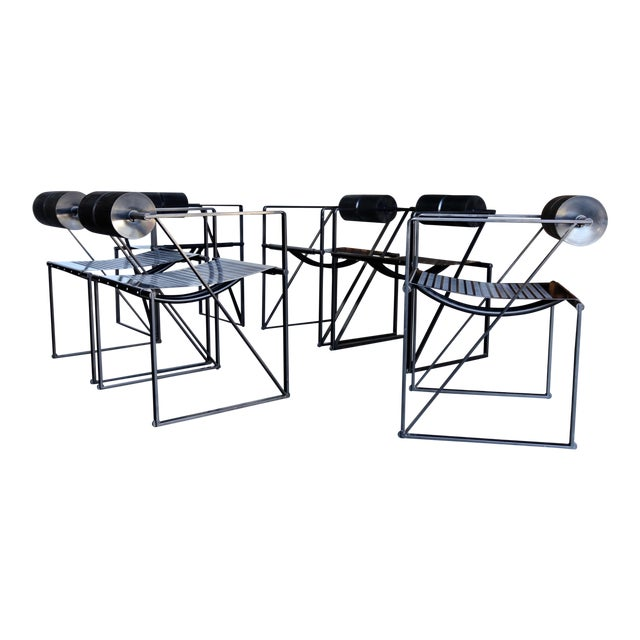 """1982 """"Seconda 602"""" Armchairs by Architect Mario Botta for Alias - Set of 6 For Sale"""