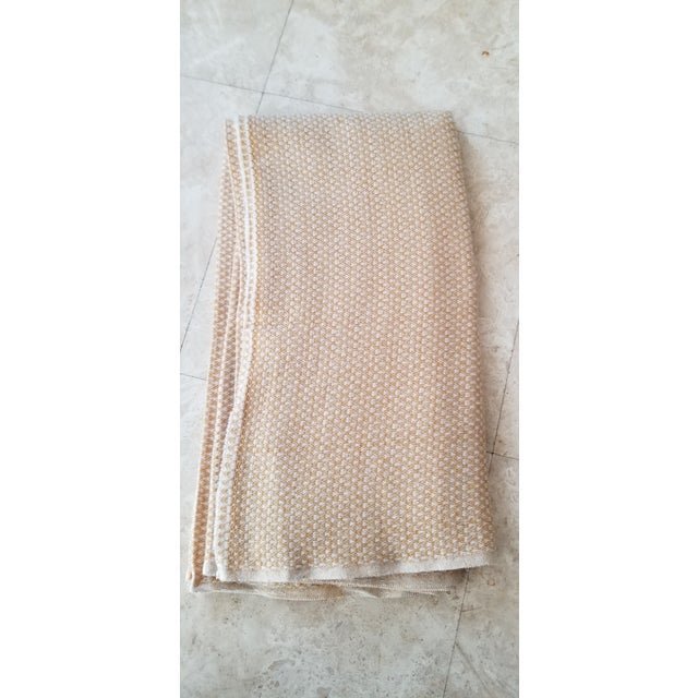 Angora Last Ca. Yellow-Beige Cashmere Blanket For Sale - Image 7 of 7