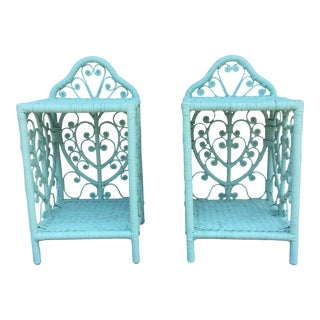 Vintage Scroll Wicker Heart Rattan Nightstands - A Pair