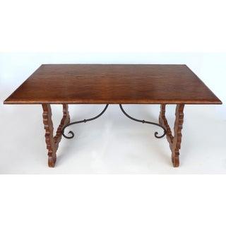 Rustic Oak Trestle Table W/ Iron Stretcher Preview