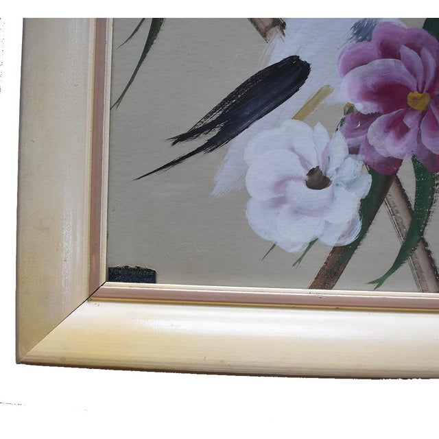 Two gorgeous hand painted vintage floral bird paintings. Estimated to be from around the 60's or 70's. Wonderful...