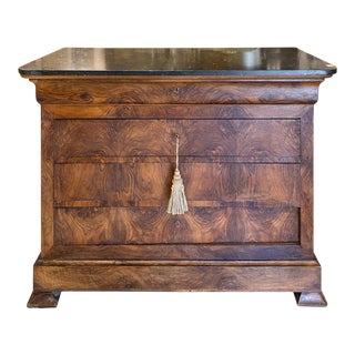 Antique French Mahogany Veneer Chest With Black Fossilized Marble Top For Sale