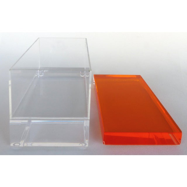 Custom Lucite Box With Orange Lucite Top For Sale - Image 4 of 6