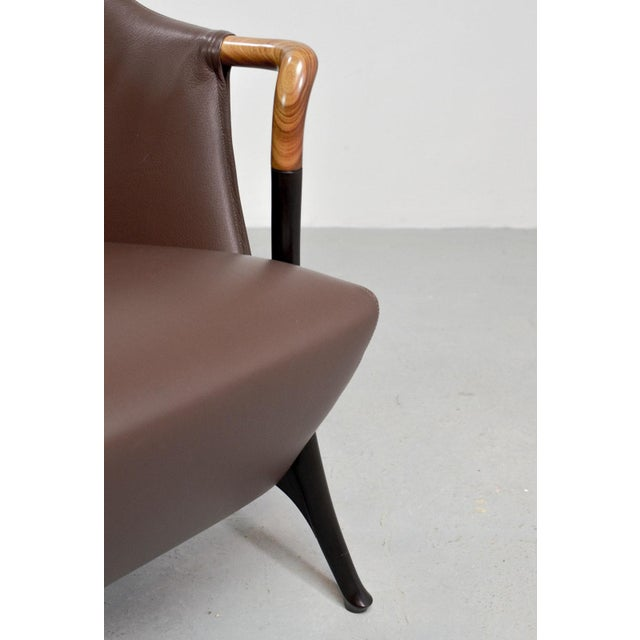 Mid-Century Modern Italian Design Seal Brown Leather Lounge Chair 'Progetti' by Giorgetti, 1980s For Sale - Image 10 of 13
