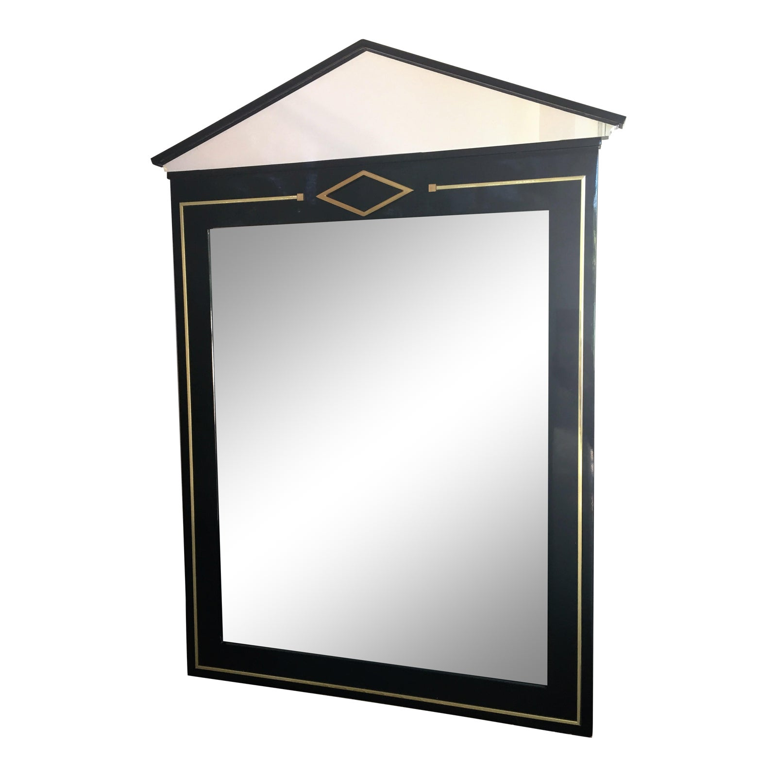 Lucite, Brass And Black Modern Art Deco Glass Mirror In