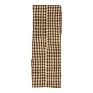 Mid 20th Century Brown & Ivory Modern Vintage Kilim For Sale