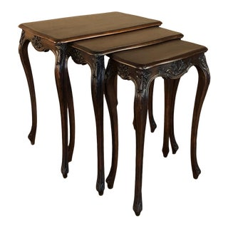 Set of Antique French Louis XV Hand-Carved Walnut Nesting Tables For Sale