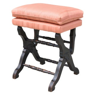 Antique Piano Stool Upholstered With Black Painted Legs For Sale