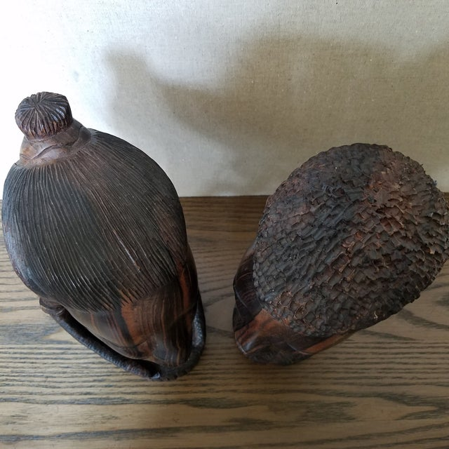 Mid 20th Century African Zebra Wood Male & Female Busts, a Pair For Sale - Image 5 of 9