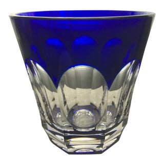 Faberge Cobalt Blue Crystal Ice Bucket in Original Box