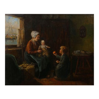 """Dutch Interior"" Antique Oil Painting by John H. Henrici (American, 1874-1958) For Sale"