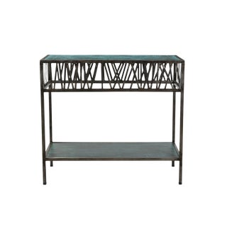 Garrard Criss Cross Iron Console Table With Wooden Top