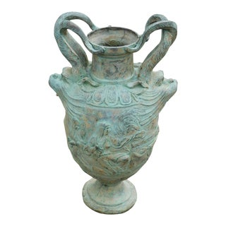 Quality Bronze Serpent Twin Handled Roman Garden Urn For Sale