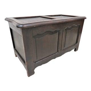 Vintage French Dark Oak Lift Top Blanket Box For Sale