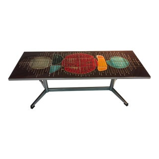 BEAUTIFUL COLORFUL ABSTRACT DESIGN ITALIAN TILE COFFEE TABLE For Sale