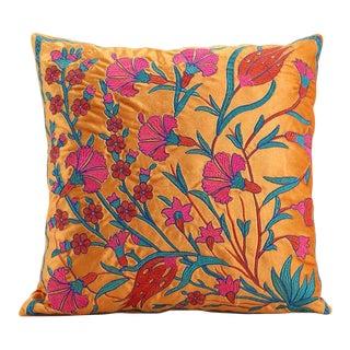 Boho Chic Velvet Floral Embroidered Orange Pink Pillow For Sale