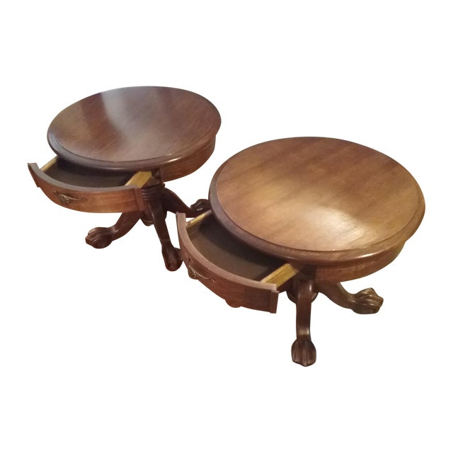 Classic Oak End Tables - Pair - Image 1 of 8