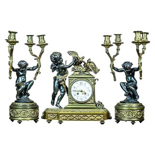 French Mantel Clock Set, Circa 19th Century For Sale