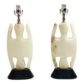 Vintage Italian Mid-Century Modern Sculptural Alabaster Table Lamps - a Pair For Sale