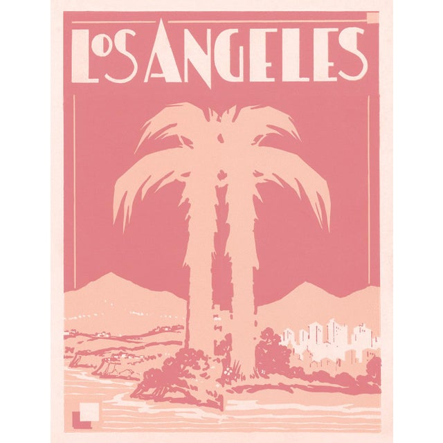 Art Deco Pink Palm Hollywood Deco Inspired Los Angeles Unframed Print For Sale - Image 3 of 3