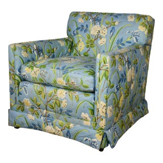 Blue Quilted Chintz Original Cabbage Rose Floral Hollywood Regency Club Chair Style Buatta or Parish For Sale