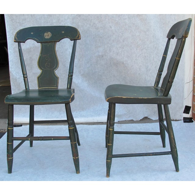 Antique Painted Pennsylvania Plank Chairs - S/6 - Image 8 of 11