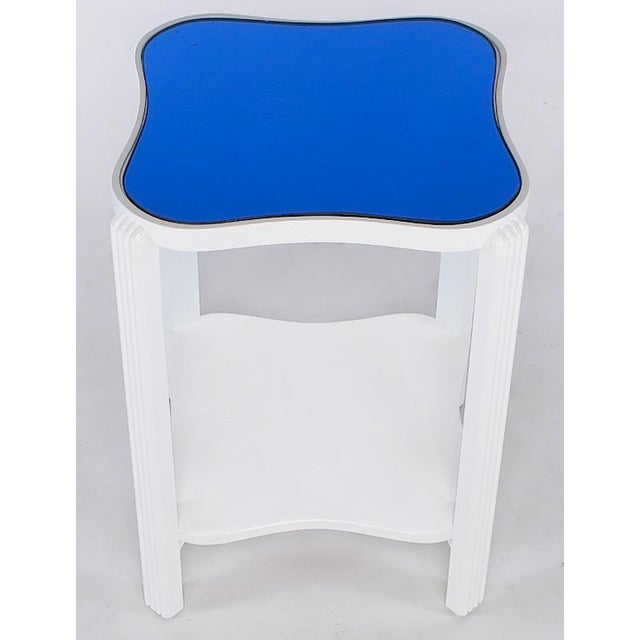 Art Deco Two-Tier White Lacquer and Blue Mirror Side Table For Sale - Image 4 of 7