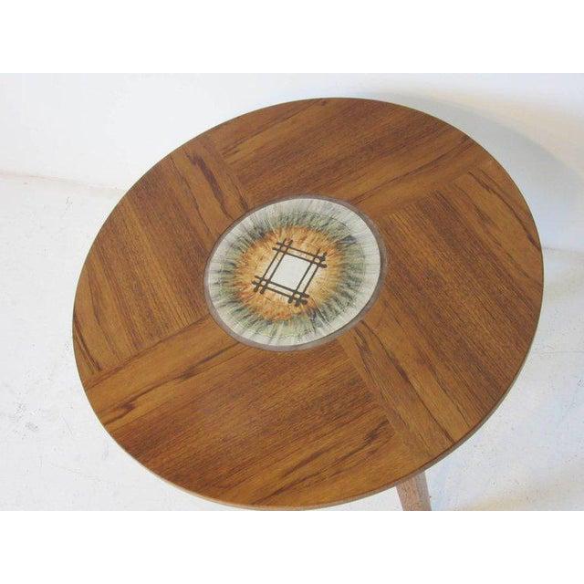 Boho Chic Tue Poulsen Tile Topped Danish Teak Side Table For Sale - Image 3 of 5