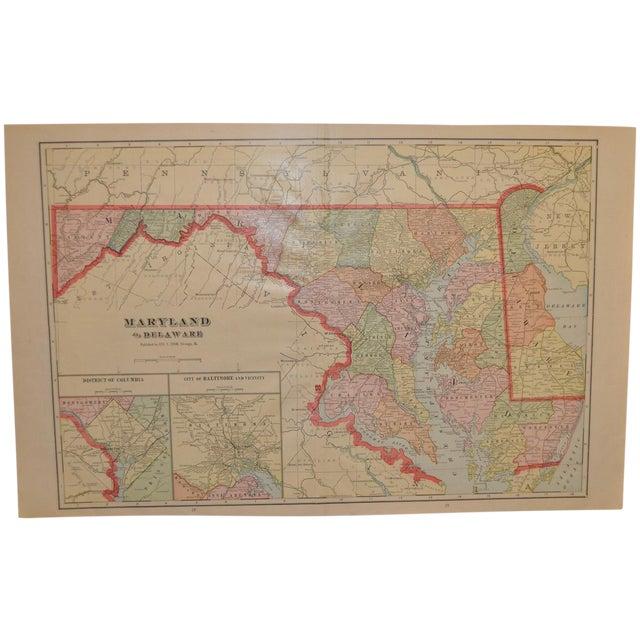 Vintage Maryland & Delaware Map C.1950 - Image 1 of 4