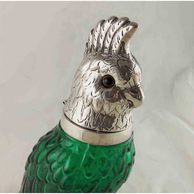 Figural Parrot Green Glass Decanter Silver Plate Head For Sale - Image 4 of 11