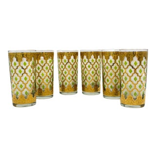 Mid 20th Century Vintage Culver Ltd. Valencia Tall Drinking Glasses- Set of 6 For Sale