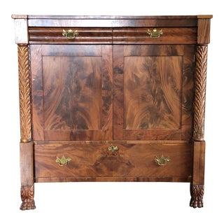 19th Century Empire Mahogany Cupboard With Drawers For Sale