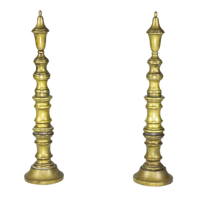 Early 20th Century French Brass Andirons - Image 1 of 8