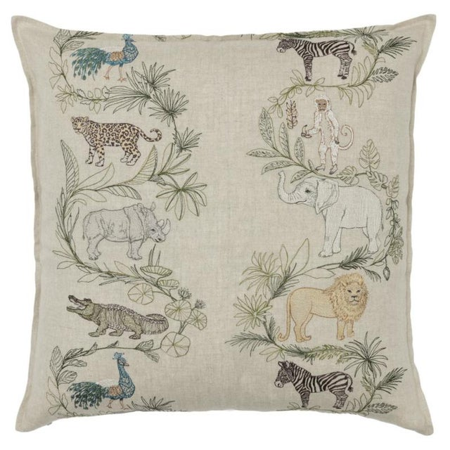 French 2010s French Ecru Linen Safari Pillow For Sale - Image 3 of 3