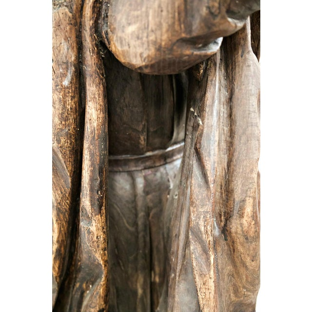 18th Century Life Size Carved Wood Statue of St. Joseph For Sale - Image 10 of 10
